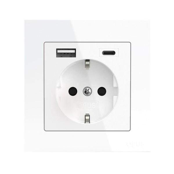 OPUS 55 Schutzkontakt-Steckdose Komplettgerät mit USB A- und USB C-Anschluss und erhöhtem Berührung