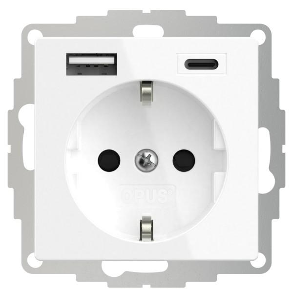 OPUS 55 Schutzkontakt-Steckdose mit USB A- und USB C-Anschluss und erhöhtem Berührungsschutz